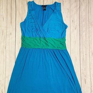 Lane Bryant Blue/Green Faux Wrap Colorblock Dress